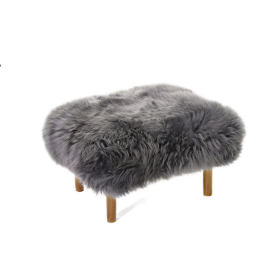 Bronwen Sheepskin Footstool  Slate Grey