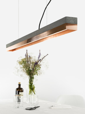 [C1] COPPER - Dimmable LED - Concrete & Copper Pendant Light Non-dimmable, Dark Grey Concrete, Copper