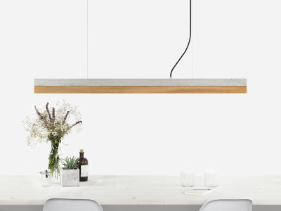 [C1] OAK - Dimmable LED - Concrete & Oak Pendant Light Non-dimmable, Light Grey Concrete, Oak