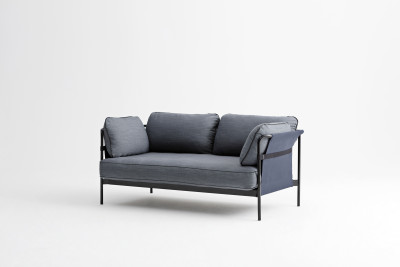 Can 2 Seater Sofa Canvas Grey, Grey, Blue
