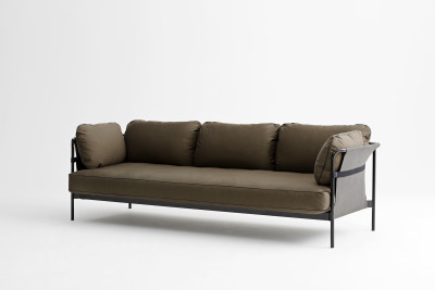 Can 3 Seater Sofa Canvas Army, Black, Army