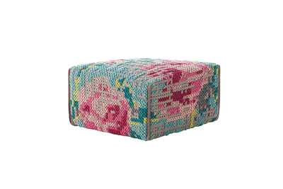 Canevas Square Flowers Ottoman Color