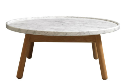 Carve Round Coffee Table Oak Base, White Top