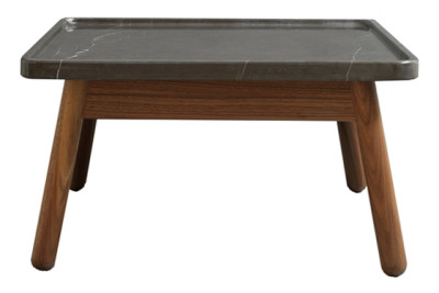Carve Square Coffee Table Walnut Base, Black Top, 60 x 60 cm