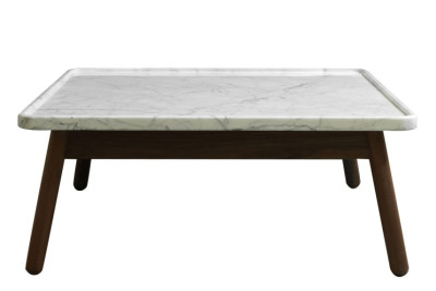 Carve Square Coffee Table Walnut Base, White Top, 60 x 60 cm