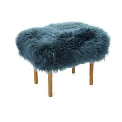 Ceri Sheepskin Footstool  Teal