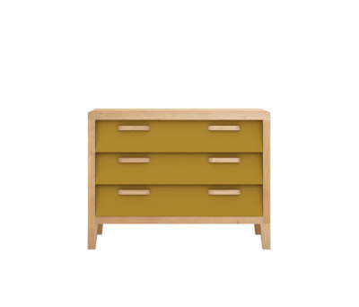 Oak Marius Chest 60'S - 3 Drawers Curry