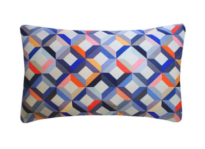 Chevron Printed Rectangular Cushion Coral Grey