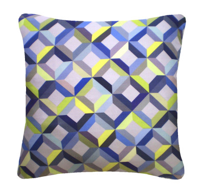 Chevron Printed Square Cushion  Lime Grey