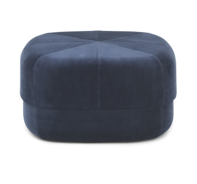Circus Velour Large Pouf Dark Blue