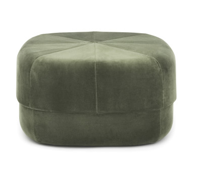 Circus Velour Large Pouf Dark Green