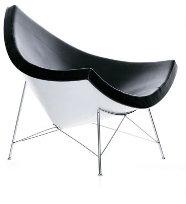 Coconut Chair Leather 66 nero, 04 Glides for Carpet