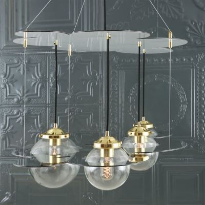 Combe Chandelier Polished Brass & Mirroed: White Panels