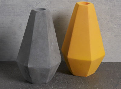 Tall Geometric Concrete Candle Holders in grey and curry by Korridor