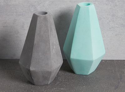 Tall Geometric Concrete Candle Holders in grey and mint by Korridor