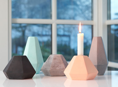 Gerometric concrete Candle Holders by Korridor