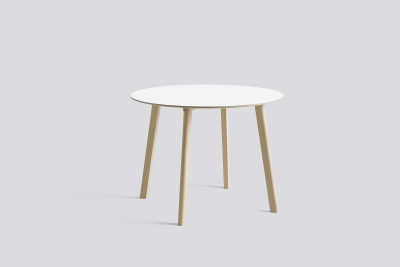 Copenhague Deux (CPH 220) Round Dining Table Pearl White Laminate Top, Untreated Beech Base, 98cm