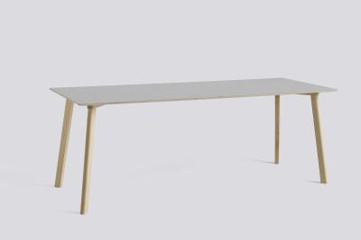 Copenhague Deux (CPH210) Rectangular Dining Table Dusty Grey Laminate Top, Matt Lacquered Oak Base, 200cm