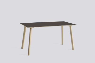 Copenhague Deux (CPH210) Rectangular Dining Table Beige Grey Laminate Top, Matt Lacquered Oak Base, 140cm