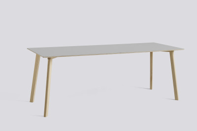 Copenhague Deux (CPH210) Rectangular Dining Table Dusty Grey Laminate Top, Matt Lacquered Oak Base, 200cm
