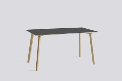 Copenhague Deux (CPH210) Rectangular Dining Table Stone Grey Laminate Top, Matt Lacquered Oak Base, 140cm