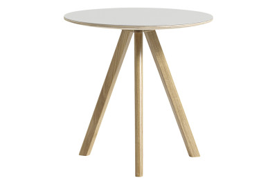 Copenhague Linuleum Top Round Coffee Table CPH20 Clear Lacquered Oak Base, White Top