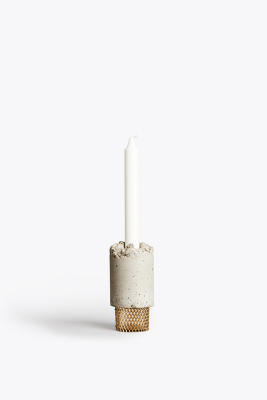 Crowd Candle Holder Moira Mesh, Concrete, Brass Base