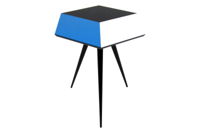 Cube 1 Side Table White and Blue