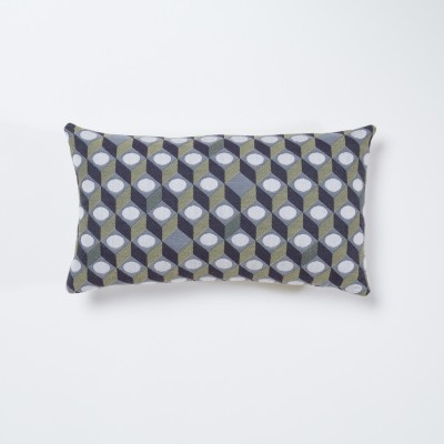 Cubes Rectangular Cushion Grey with Small Cubes