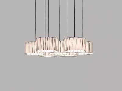Curvas CV04-7 Chandelier Red, Transparent Cable
