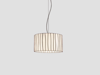 Curvas Pendant Lamp Red, Transparent Cable, Large