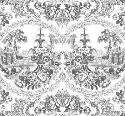 Black - Delft Baroque Wallpaper
