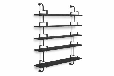 Démon 5 Bookshelves Black Stained Beech, 155 cm