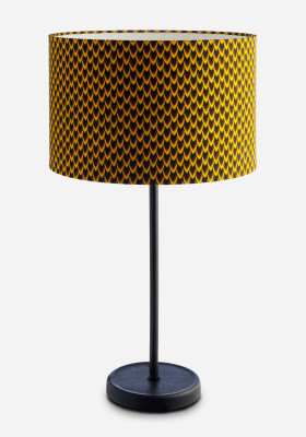 Drum Lamp Shade & Cast Floor Fish Scale Fabric by Vlisco, Small