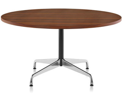 Eames Round Table - 6 Seats White laminate / plastic edge black, Feet chrome / central column basic dark