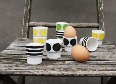 Egg Cups Set Green, Yellow, Black, Black Stripes