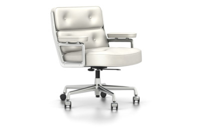 ES 104 Swivel, With Armrests Leather 72 snow, 02 castors hard - braked for carpet