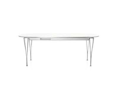 Extendable Table Laminate Standard Colour White 100 x 170/270 Black