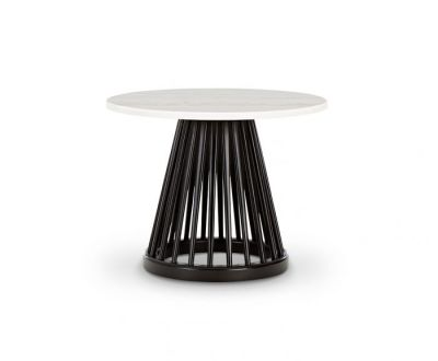 Fan Table Black Base, White Marble Top, 60cm