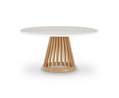 Fan Table Natural Base, White Marble Top, 90cm