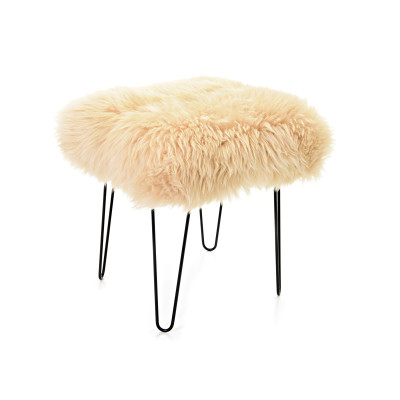 Ffleur Sheepskin Footstool  Buttermilk
