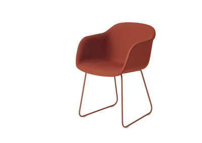 Fiber Armchair Sled Base - Textile Shell Remix 643 / Dusty Red