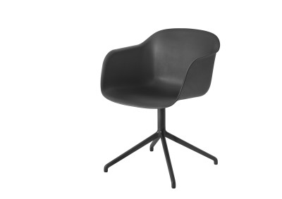 Fiber Armchair Swivel Base Black/Black