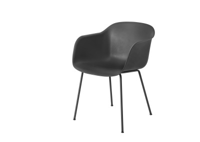 Fiber Armchair Tube Base Black / Black