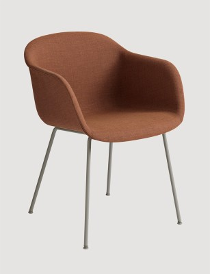 Fiber Armchair Tube Base - Upholstered B0304 - Elmosoft 13060 grey/brown