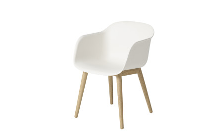 Fiber Armchair Wood Base Natural White/Oak