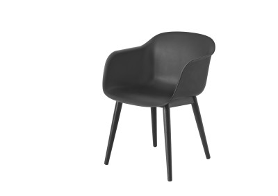 Fiber Armchair Wood Base Black/Black