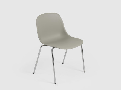 Fiber Side Chair / A-Base Non-Upholstered Seat Natural White/Chrome