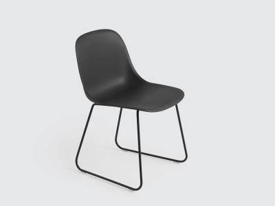 Fiber Side Chair Sled Base Black/Black
