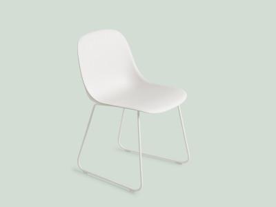 Fiber Side Chair Sled Base White/White